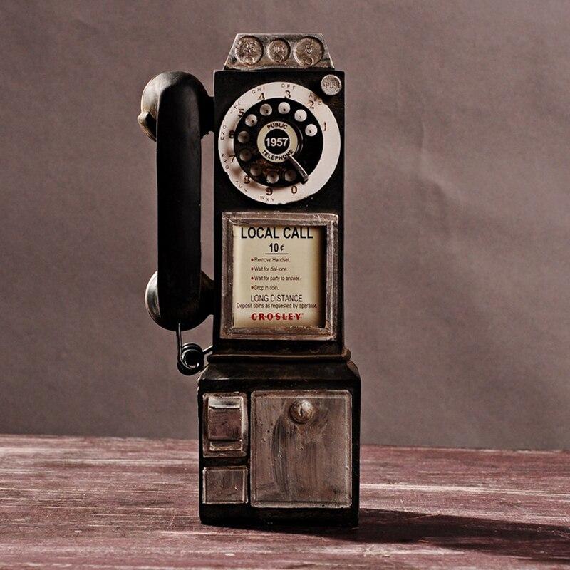 Vintage rotar aspecto clásico, teléfono de pago, cabina Retro, decoración del hogar, adorno J99Store