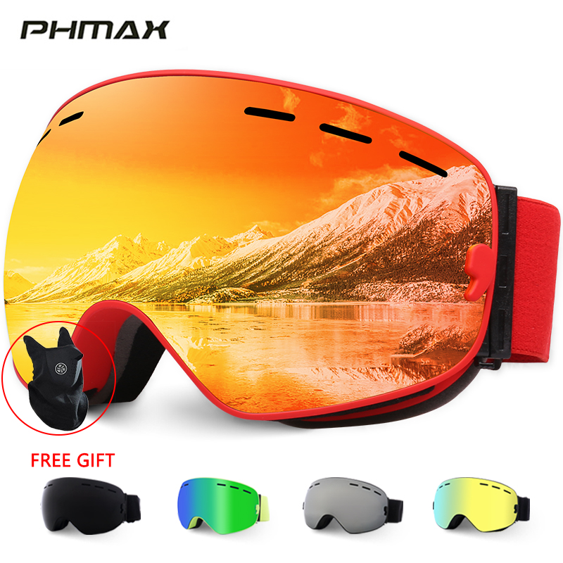 PHMAX Ski Goggles With Ski Mask Men Women Snowboard Goggles Glasses For Skiing UV400 Protection Anti-fog Snow Skiing Glasses