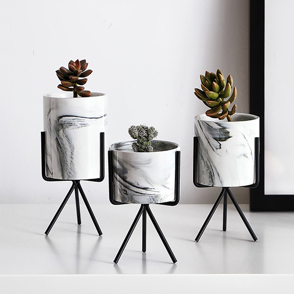 Rack Shelf Ceramic Decoration Flower Pot Desktop Plant Holder Home Marble Vase With Iron Stand Nordic Garden Office Planter