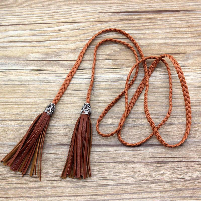 Dames accessoires gland taille chaîne haute qualité PU tissé mince ceinture pour les femmes robe concepteur ceintures femmes luxe ceinture cadeaux nouveau