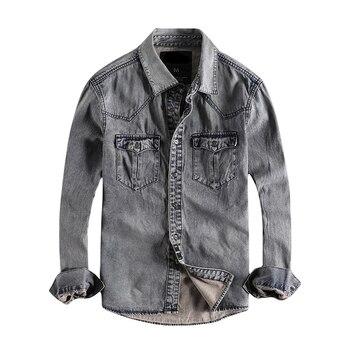 Japanese Harajuku Vintage Distressed Jeans Shirt for Men Urban Boys Streetwear Button Up Long Sleeve Denim Shirts Plus Size