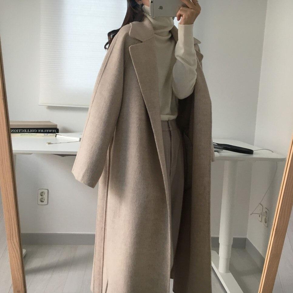 H6f9facfc7c7f42c293de911b688e413e3 - Winter Revers Collar Solid Woolen Overcoat with Belt