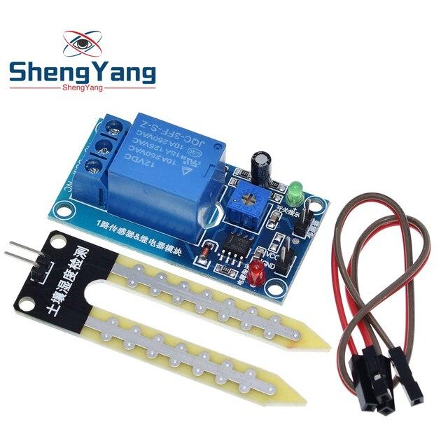 Dc 5V 12V Bodemvocht Sensor Relais Controle Module Automatisch Sproeisysteem Van De Vochtigheid Beginnend Switch