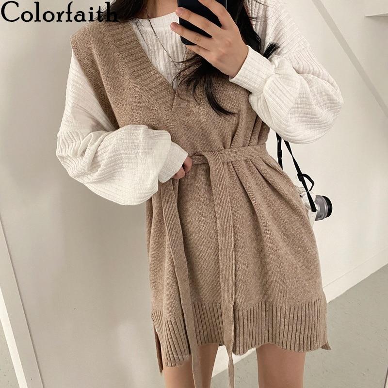 Colorfaith New 2021 Spring Autumn Women Dresses V-Neck Split Knitted Lace Up Sleeveless Korean Style Elegant Lady Dress DR18213