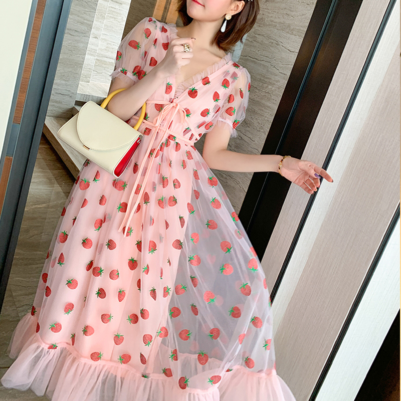 Runway Rhinestone Diamonds Strawberry Pink Mesh Maxi Dress Women Short Puff Sleeve Sexy V-neck Lace-up Bow Tunic Lolita Dress (11)