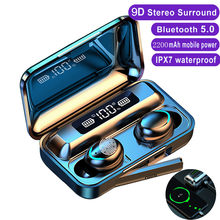 Tws fones de ouvido sem fio bluetooth 9d estéreo esporte fone handsfree fones com microfone caixa carregamento para o telefone inteligente