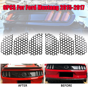Car PVC car rear light honeycomb lamp decoration stickers sticker decal for Ford Mustang 2015-2017 qhcp car styling abs letter sticker rear trunk decklid badge emblem stickers decoration fit for ford mustang 2015 2016 2017 2018