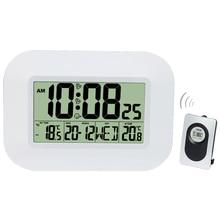 Horloge murale numérique de Table alarme bureau avec écran LCD, grand nombre, avec thermomètre, humidité, calendrier Snooze
