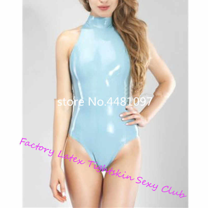Nature Latex Catsuit Women Rubber Swimsuit Zentai With Back Zip Unitard Sexy Women Kig Swimsuit  kawaii lingerie XS-XXXL