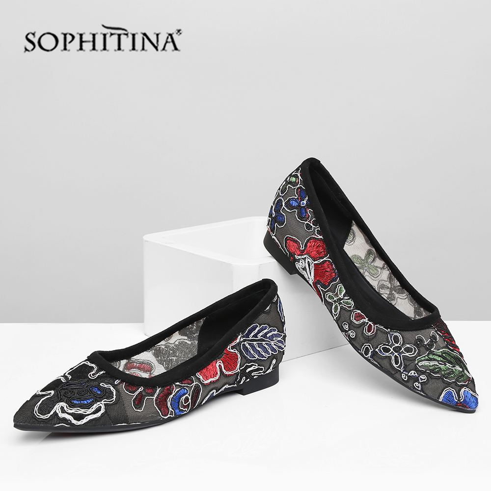 Promo SOPHITINA Summer Women Flats Pointed Toe Square Heel Low Embroider Shallow Slip-On Shoes Cow Leather Casual Leisure Flats MO436
