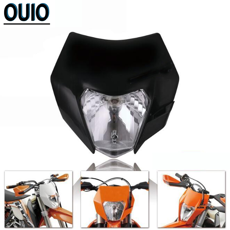 Motorcycle <font><b>Headlight</b></font> Bulb 35W White Supermoto Headlamp Dual Sport <font><b>Dirtbike</b></font> Off Road Motocross Head Light Mask For KTM SMR EXC SX image