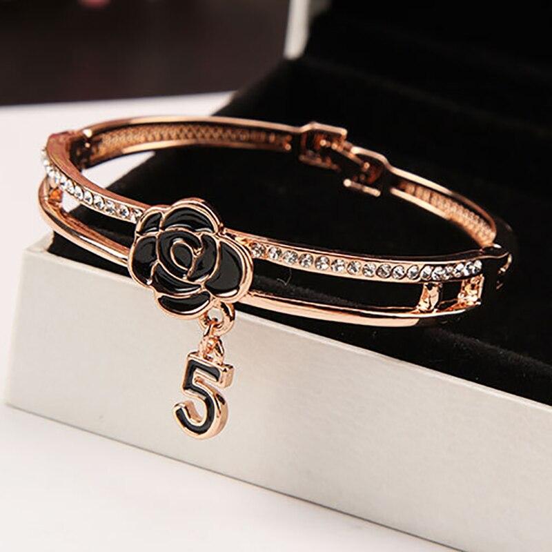 Fashion Enamel Camellia Bangles for Women Luxury Brand Crystal Letter 5 Bangle Bracelet Wedding Jewelry pulseira Z093(China)