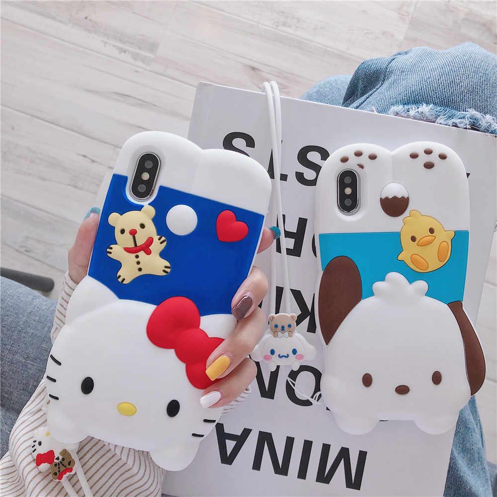 3D Anime mi melodía Hola kitty suave de la caja del teléfono de silicona para iphone 11 pro max 6 7 8 plus X XR XS MAX Cinnamoroll cordón cubierta
