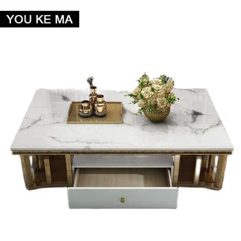 Indywidualny marmurowy stolik kawowy szafka TV połączenie post-nowoczesne światło do pokoju luksusowy prostokątny stolik do herbaty ze stali nierdzewnej tanie i dobre opinie CN (pochodzenie) Stojak na telewizor meble do domu meble do salonu