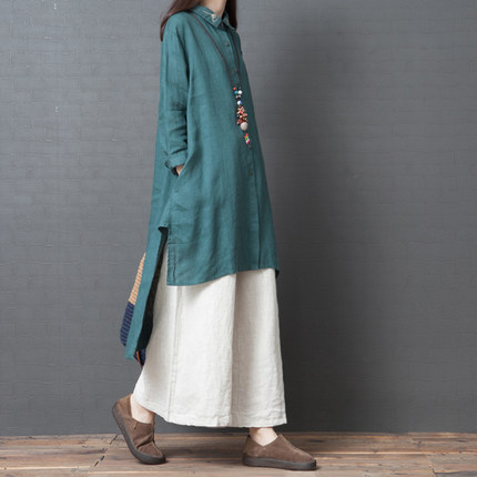 2019 Autumn New Style Retro Loose And Plus-sized WOMEN'S Dress Solid Color Cotton Linen Shirt With Loose Pants Fashion Leisure S