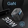 GaN 30 Вт PD международный Путешествия зарядное устройство мини Sockests ЕС Великобритания США AU USB C адаптер питания конвертер