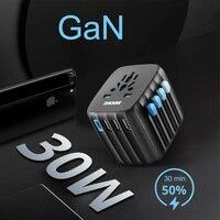 GaN 30W PD International travel Charger mini Sockests EU UK US AU USB C Power Adapter Converter