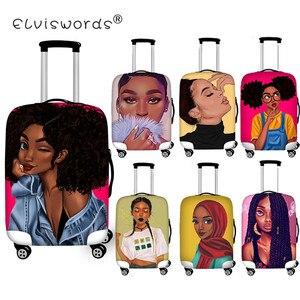 Защитный чехол ELVISWORDS для чемодана, черный чехол для девочек, аксессуары для путешествий, 18-30 дюймов, чехол для чемодана с троллем, пылезащитн...