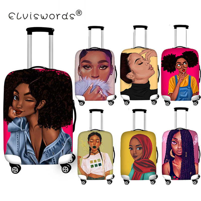 ELVISWORDS Luggage Protective Cover Black Art Afro  Girls Travel Accessories For 18-30 Inch Trolly Suitcase Cover Dustproof Bags