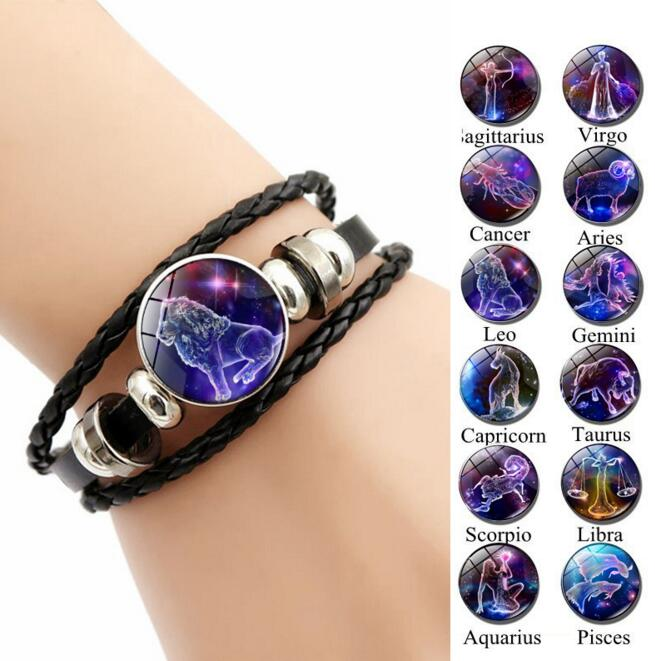 12 Zodiac Signs Constellations Black Button Woven Leather Bracelet Glass Dome Jewelry Men Aries Libra Libra Leo Birthday Gift image