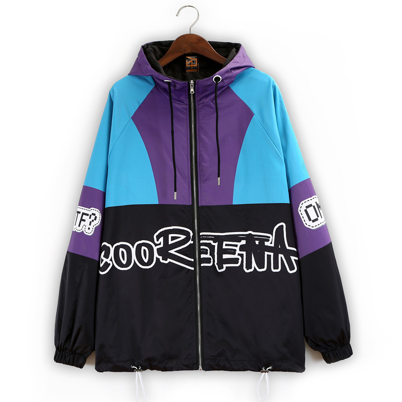 Chaqueta de Otoño Invierno para mujer con estampado de payaso de dibujos animados con capucha con cremallera bolsillos Hip Hop Streetwear abrigo Punk de gran tamaño