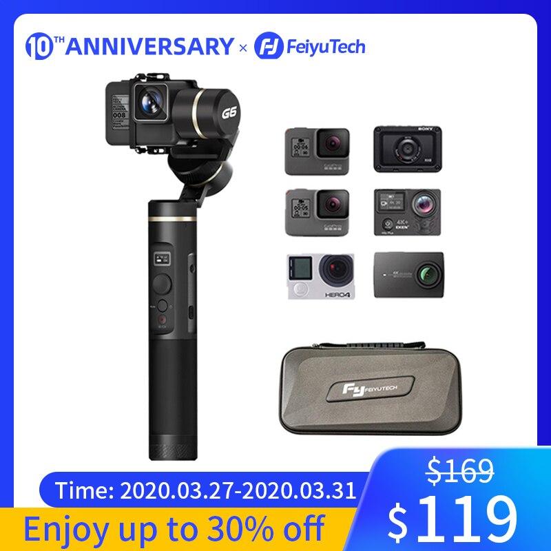 FeiyuTech G6 étanche aux éclaboussures cardan de poche Feiyu caméra d'action Wifi + Bluetooth écran OLED pour Gopro Hero 8 7 6 5 RX0 Yi 4k
