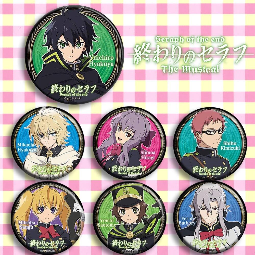 Japan Anime Owari No Seraph Mikaela Hyakuya Cosplay Badge Cartoon Collection Backpacks Badges Bags Button Brooch Pins Gift