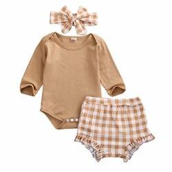 Комплект одежды для маленьких девочек, Осеннее боди с длинным рукавом для новорожденных, топы, клетчатые шорты, повязка на голову, наряд, оде...