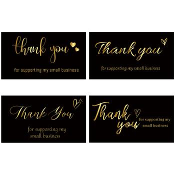10 sztuk czarnego złota dziękuję za wsparcie moich małych wizytówek na sklep detaliczny ręcznie robiony sklep sklep pakiet kartki z podziękowaniami tanie i dobre opinie CN (pochodzenie) Thank You Cards 3 lata Rectangle Papier 5*9cm 2*3 5 inch 4 Designs