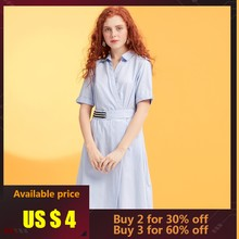 Metersbonwe brand new turndown collar female summer commuter temperament show thin short sleeve belted shirt dress dropshipping(China)