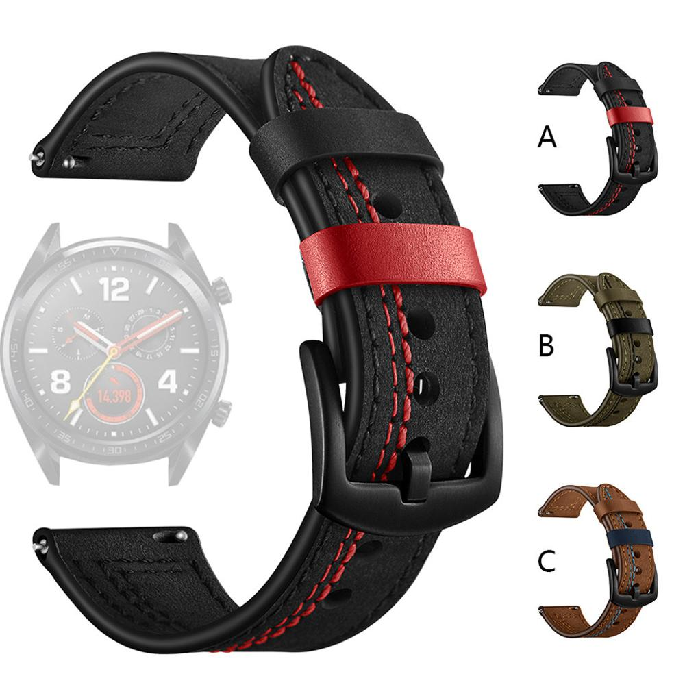 20mm 22mm Genuine Leather Watchband For Samsung Galaxy Watch 42MM For Active 2 S2/S3 Watch Strap Quick Release Watch Accessories