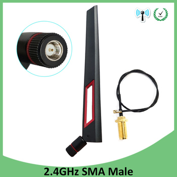 2pcs 2.4GHz WiFi Antenna 8dBi Aerial SMA Male Connector 2.4 ghz antena wi-fi +21cm PCI U.FL IPX to RP-SMA Pigtail Cable