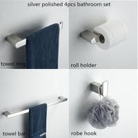 4 Piece Bathroom Hardware Set Chrome Bathroom Accessories Towel Bar Paper Holder Robe Hook Towel Ring Bathroom Accessories