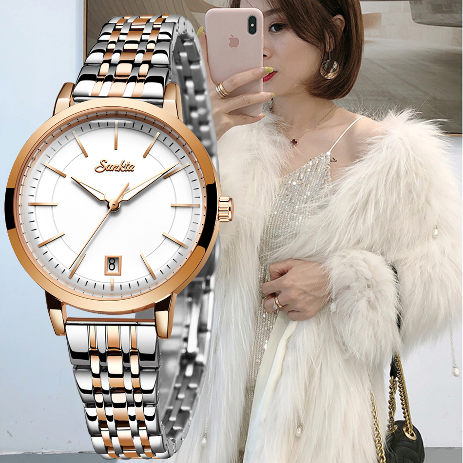 SUNKTA Rose Gold Watch Women Watches Stainless Steel Ladies Women's Watch Women 2020 Luxury Fashion Relogio Feminino+Bracelet