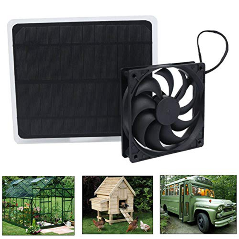 10W Solar Panel Powered Fan Mini Ventilator For Dog Chicken House Greenhouse RV Roof