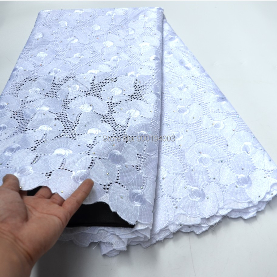 Hot sale 5 Yards White High quality African Swiss Voile Lace for wedding 100% Cotton Fabric- N88121