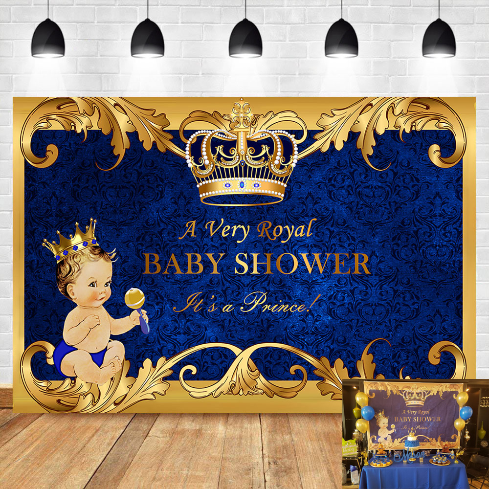 NeoBack Welcome Little <font><b>Boy</b></font> <font><b>Baby</b></font> <font><b>Shower</b></font> <font><b>Backdrop</b></font> Royal Prince Gold Crown Royal Blue Banner Photography Background image