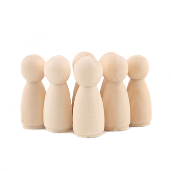 10pc Wooden Doll 65mm-35mm Wooden Blank Peg Dolls Girl Boy DIY Unfinished Doll Maple Rodent Handmade Baby Product Christmas Gift