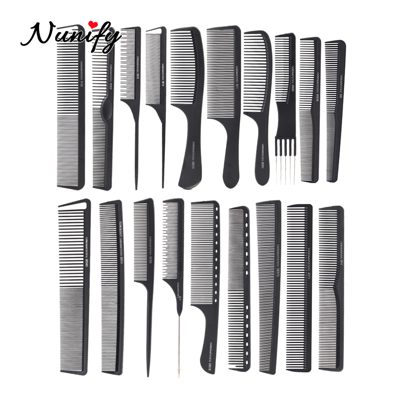 Nunify Black Tail Comb Rat For Styling Hairdressing Large Carbon Anti Static Comb Heat Resistant Antistatic Cutting Comb