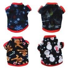 Теплый рождественский костюм для маленькой собаки, куртка, пальто для кошек, флисовый пуловер с капюшоном, кофта, свитер
