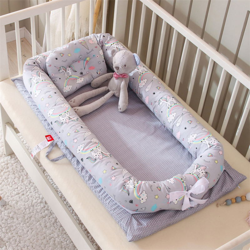 90X50cm Baby Nest Bed Folding Crib Newborns Sleep Nest Cots Infant Cradle Baby Bassinet Bumper