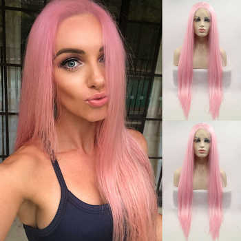 DOROSY HAIR High Temperature Fiber Synthetic 13*4 Lace Front Wig Perruque Frontal Pink Color Cosplay Long Straight For Women - DISCOUNT ITEM  26 OFF Hair Extensions & Wigs