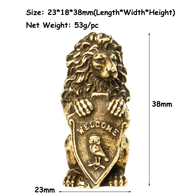 Antique Bronze Welcome Shiled Lion King Statue Home Feng Shui Decorations Lucky Copper Owl Miniature Figurines Table Ornaments 6