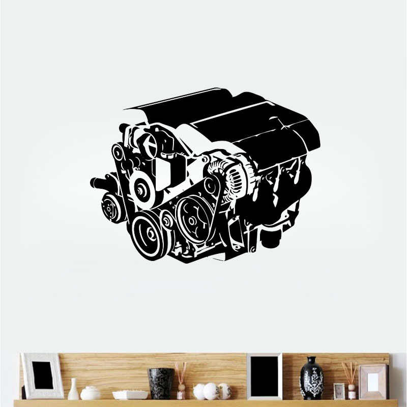 Engine Wall Mural Vinyl Decal Sticker Decor Sport Car Racing Work Shop