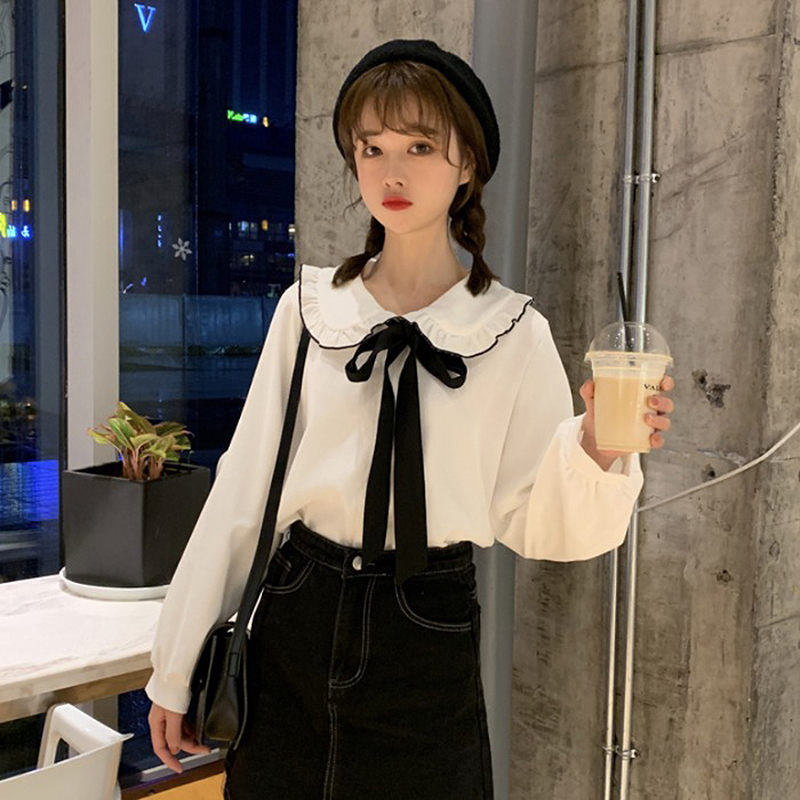 vintage Kawaii blouses womens long sleeve ruffles bow ladies tops and blouses plus size white shirts chemisier femme blusas in Blouses amp Shirts from Women 39 s Clothing