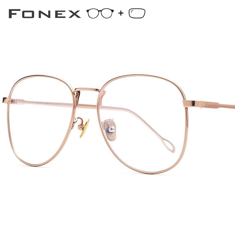 FONEX Pure Titanium Prescription Glasses Women Vintage Big Myopia Optical Eyeglasses Frames Men Rose Gold Oversize Eyewear