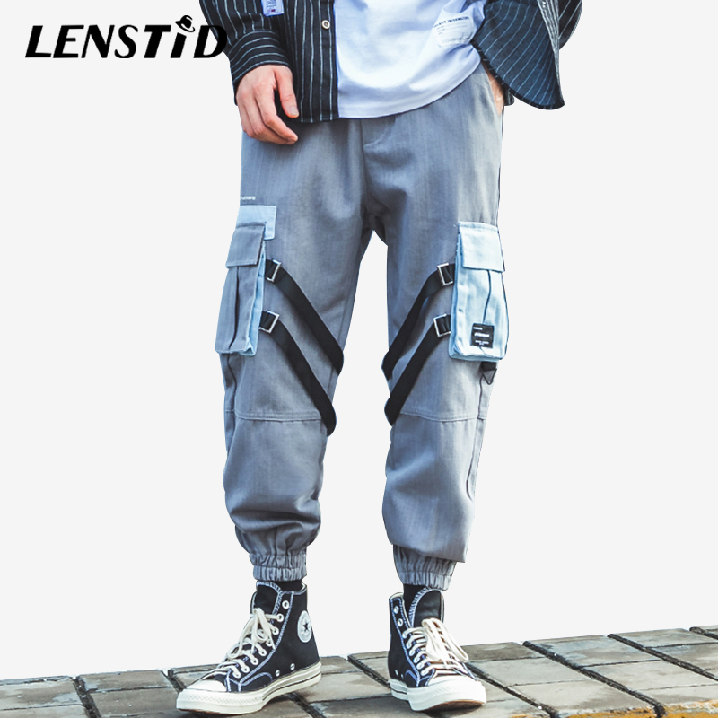 LENSTID Harajuku Hip Hip Cargo Pants Streetwear Mens Joggers 2019 Ribbon Big Pockets Harem Tactical Pants Cotton Casual Trousers