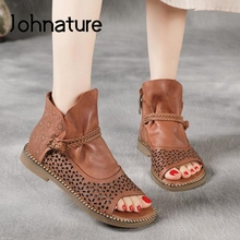 Retro Shoes Ladies Sandals Handmade Flat Hollow Genuine-Leather Summer Zip Sewing Johnature