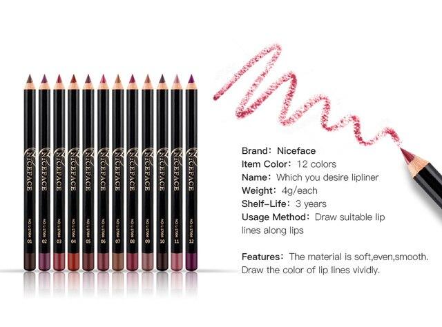 12 Colors Lip Pencils Matte Lipliner Waterproof Smooth Colorful Silk Nude Lipstick Pen Long Lasting Pigments Lip Makeup TSLM1 4