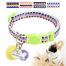 Quick Release Cat Collar Customized Collars for Cats Kitten Personalized ID Tag Cats Name Collars With Bell Cat  Accessories